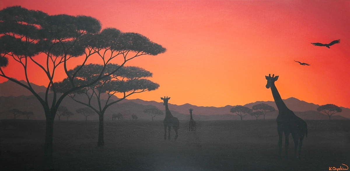 A painted scene of the African plains, with a bright red and orange sunset sky, and the silhoutte of giraffes and acacia trees in the foreground