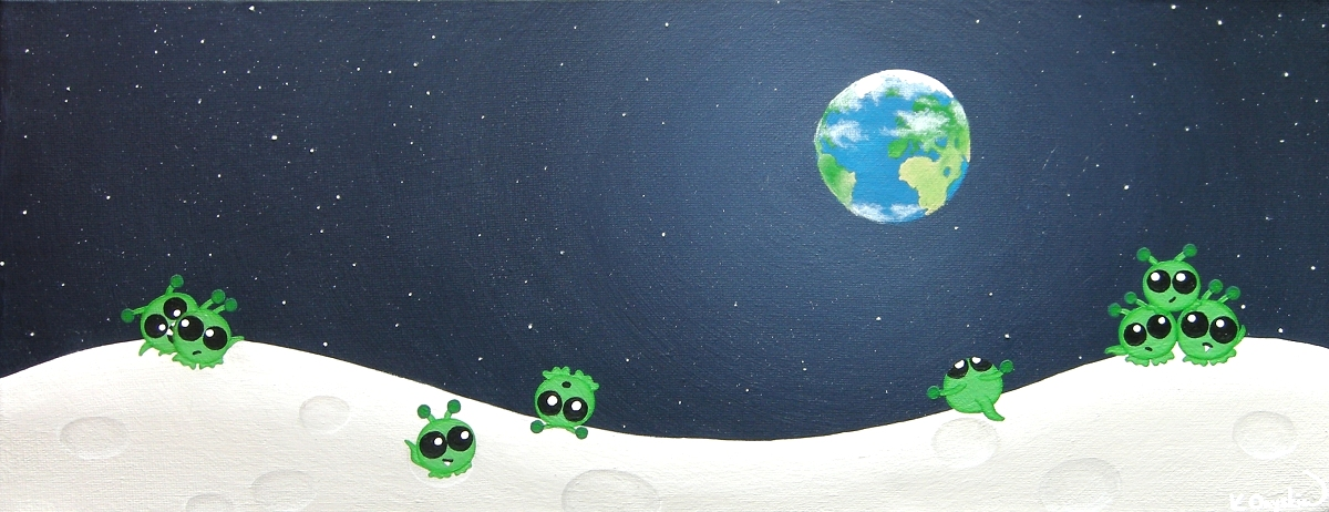 A painted lunar landscape with cute green aliens playing in the craters, with the Earth showing in the dark starry sky above