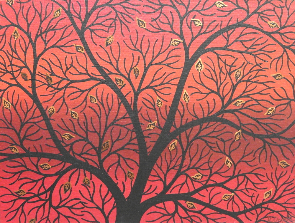 Black stylised branches of a tree with just a few copper edges leaves left, against a background of blended red and orange lines