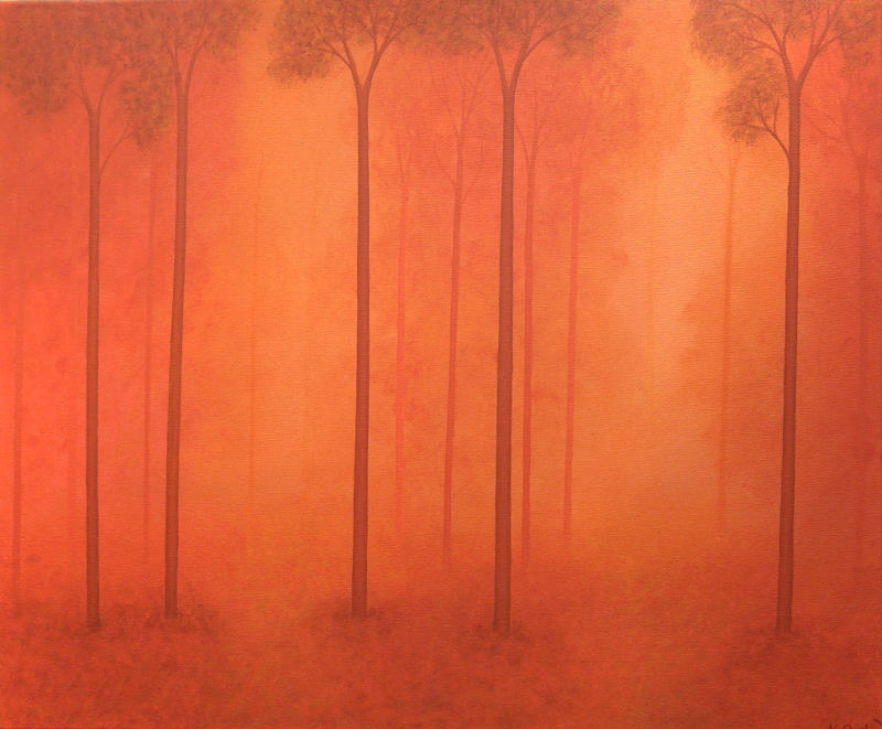 A woodland landscape painted in shades of orange, with trees disappearing into the distance