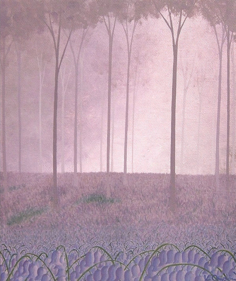 A woodland scene painted in shades of purple, with bluebells in the foreground and trees disappearing into the distance