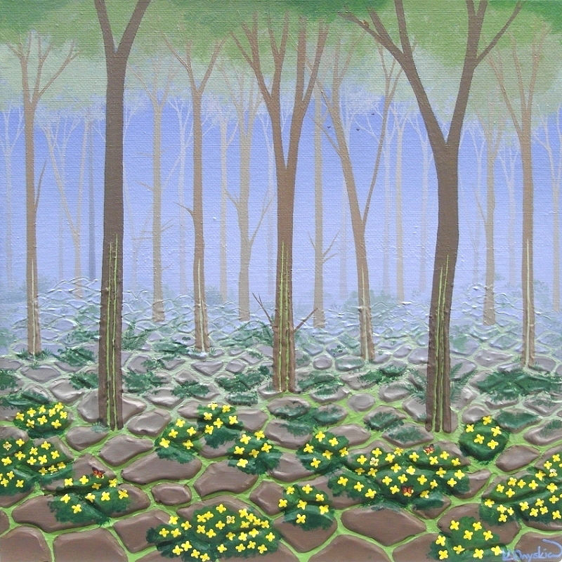 A painted woodland scene with cracks in the ground and running up the trees showing a bright green colour underneath