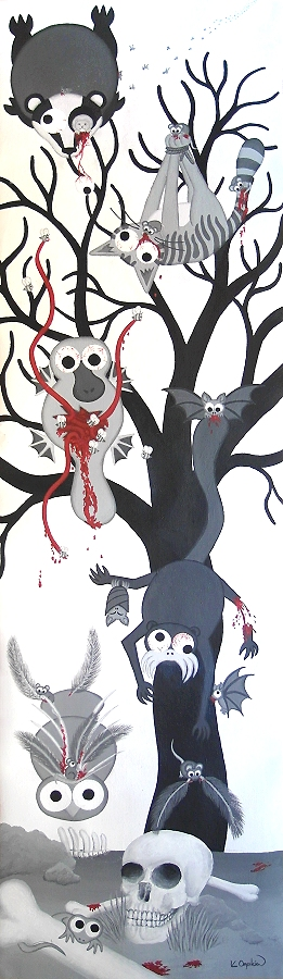 A tall greyscale and red painting with caroon animals that are being mutilated by smaller animals falling from the sky, with a large tree in the background and a skull and bones on the ground