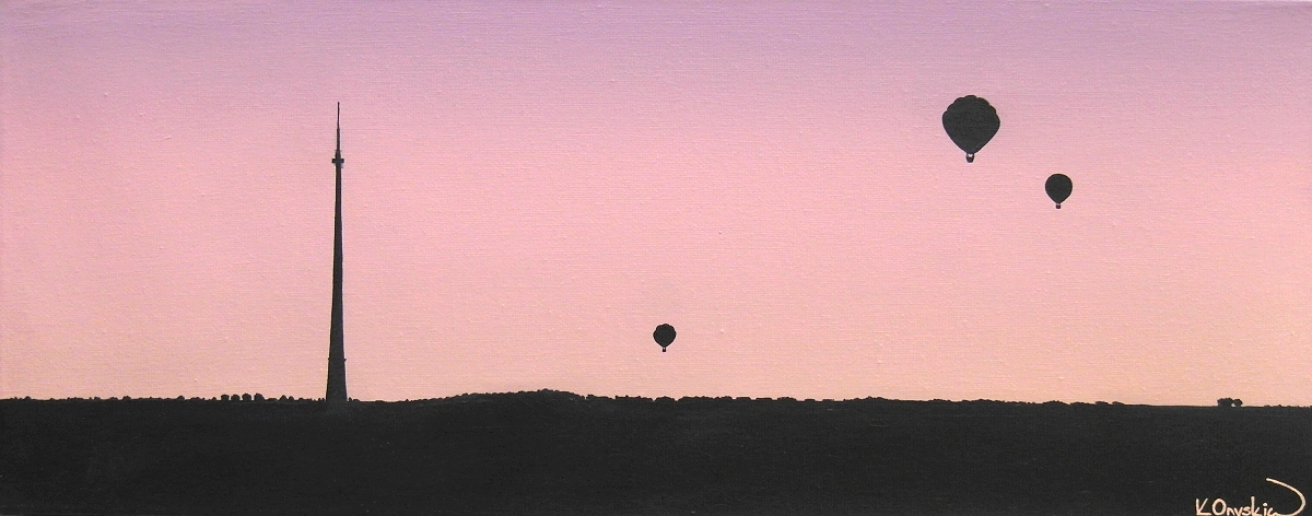 A painting landscape of Emley Moor tower in the early morning, with the silhouette of three balloons flying in the pink purple dawn sky