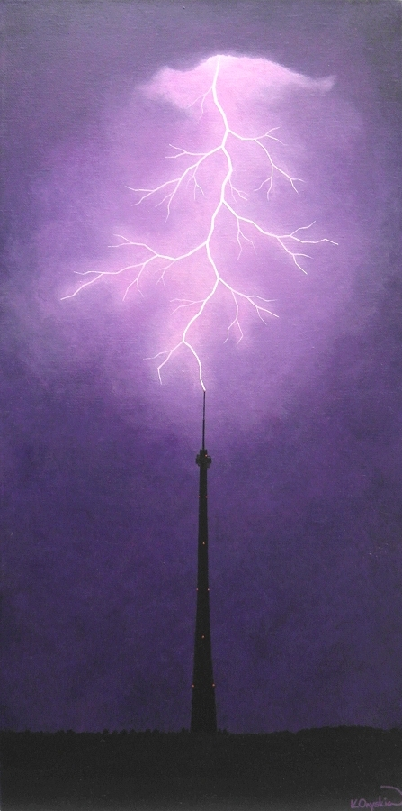 A painted scene of a lightning fork striking the silhouette of Emley Moor tower against a dark purple sky