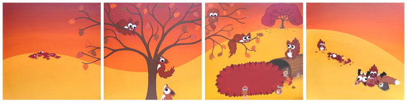 A cartoon landscape set in autumn painted over 4 panels. 2 panels are cute, and 2 panels turn darker with prey animals getting their gory revenge on the predators