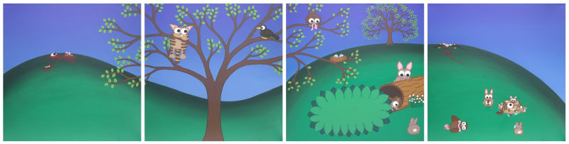 A cartoon landscape set in spring painted over 4 panels. 2 panels are cute, and 2 panels turn darker with prey animals getting their revenge on the predators