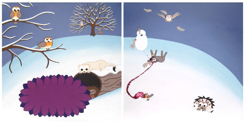 A snowy cartoon landscape set in winter painted over 2 panels. The first panel is cute, but on the second the prey animals are getting their revenge on the predators