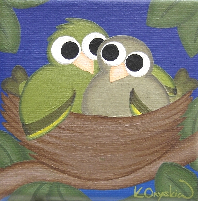 A whimsical painting of a pair of greenfinches cuddled in a nest