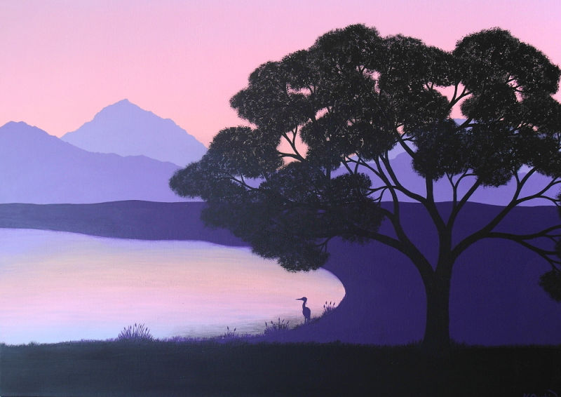 A painted Japanese landscape with the silhouette of a cherry blossom tree next to a lake, with a purple mountain range in the background and a pink purple morning sky above