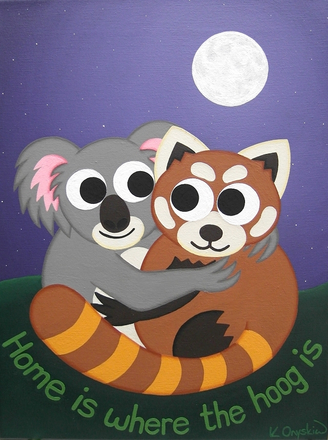 A painting of a cartoon koala and red panda hugging under a night sky with a full moon