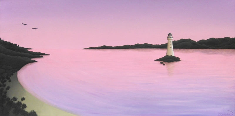 A painted morning scene of a lighthouse in the middle of an estuary, with the purple pink of the dawn sky reflected in the water
