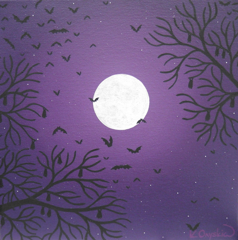 A purple painted night sky with a large full moon, around which a colony of bats are flying, waking from the silhouette of tree branches at the corners of the canvas