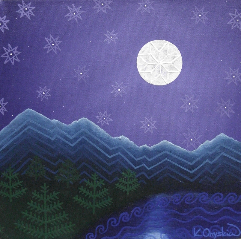A night scene of a mountain lake under the moon and stars. Overlaying the landscape are patterns from Ukrainian pysanky that represent what is shown beneath
