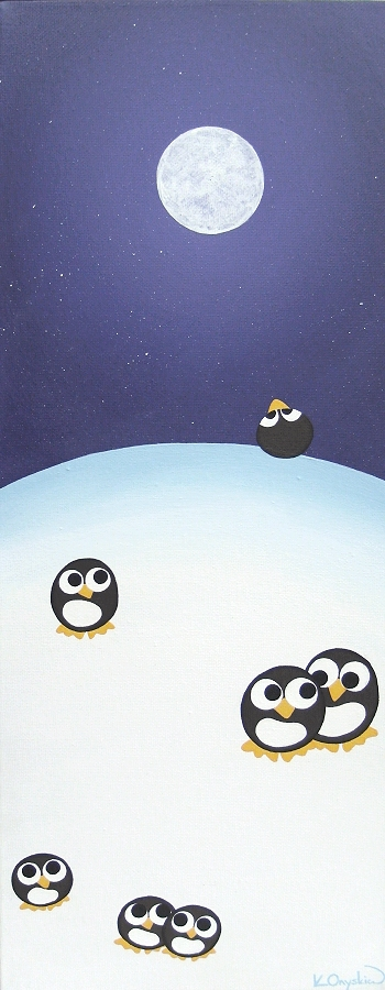 A tall painting with cartoon penguins stood on a snowy hill, with a full moon in the starry night sky above