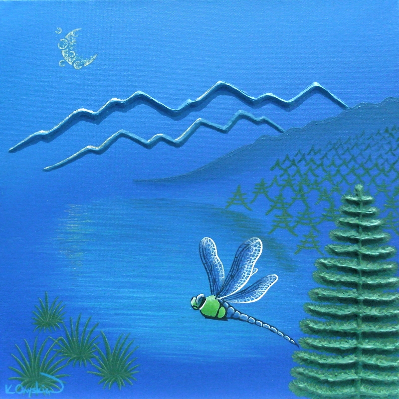 An abstract painted landscape of a blue mountain lake scene, with pine trees and a dragonfly in the foreground