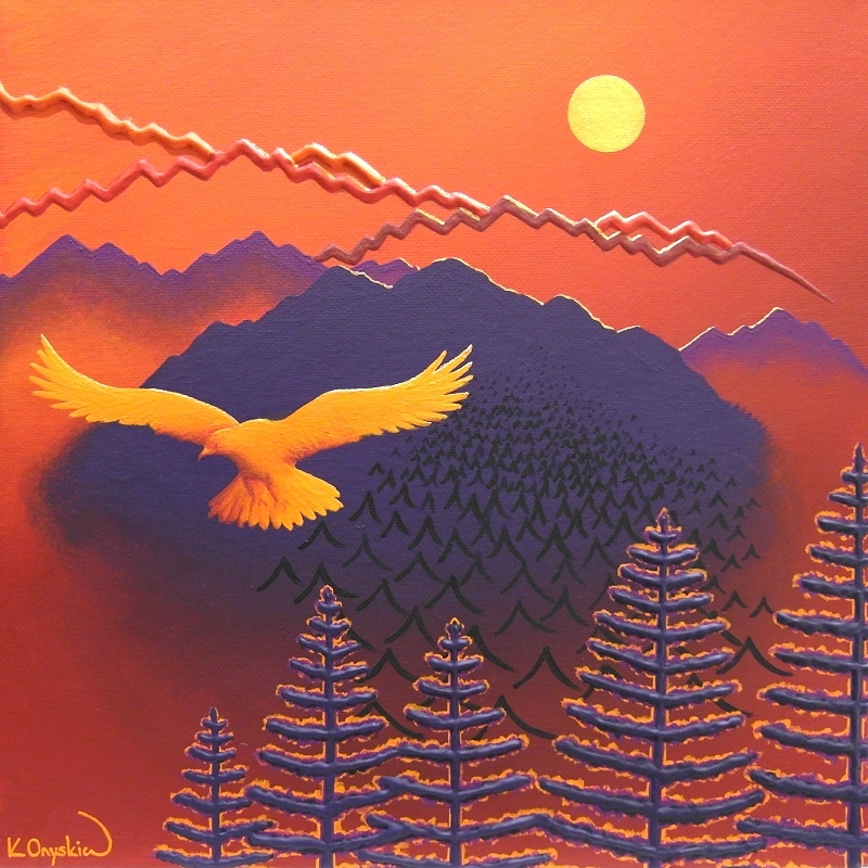 An abstract painted landscape of a mountain scene with an orange red background and purple mountains and pine trees, with an orange eagle flying in the foreground