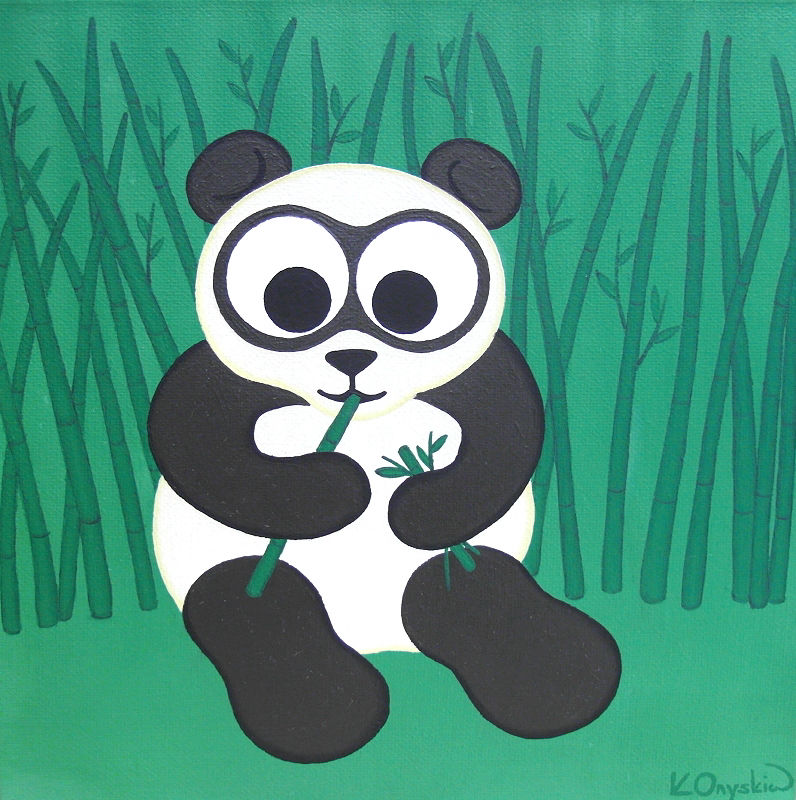 A painting of a cartoon panda sat amongst bamboo, eating the stems in its paws
