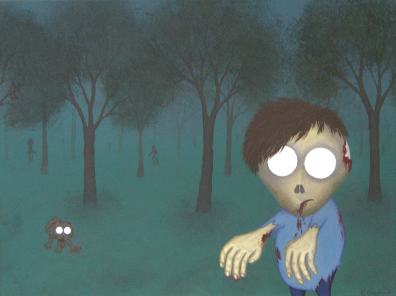 A dark painted woodland scene, with a cartoon zombie and zombie cat in the foreground, and the misty shapes of more zombies in the distant trees