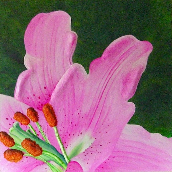 A close up painting of a bright pink lily