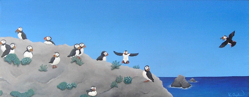 A painted coastal scene with a colony of puffins on a rock, in the distance is a blue sea under a clear blue sky