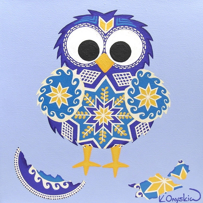 A blue and yellow cartoon chick, surrounded by pieces of cracked eggshell. Both the chick and egg have patterns of Ukrainian pysanky
