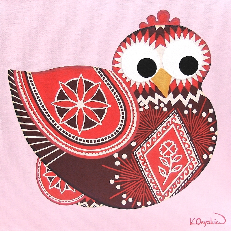 A cartoon chicken in red, white and burgundy sat on two eggs, both hen and eggs painted with the patterns of Ukrainian pysanky