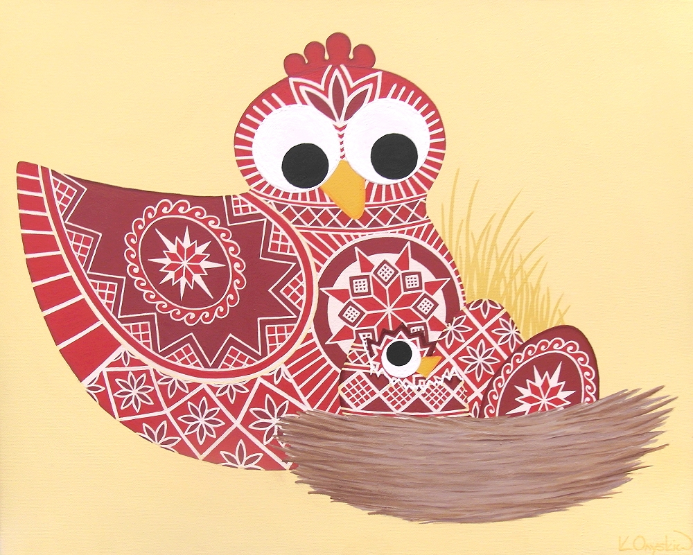 A cartoon scene of a red hen with a nest containing 3 red eggs, one of which has a chick hatching out. All eggs and birds are painted with the patterns found on Ukrainian pysanky