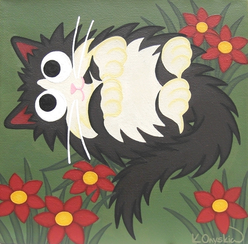 A cartoon painting of a black and white fluffly cat rolling over in the grass, surrounded by red flowers