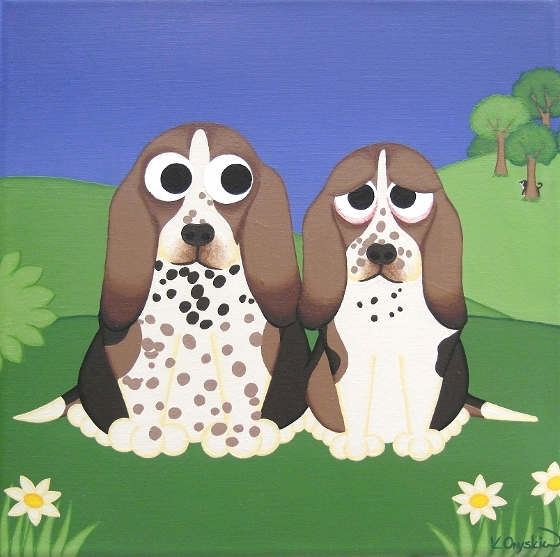 A cartoon pet portrait of two basset hound dogs sat in a hilly landscape