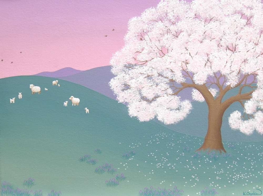 A painted scene of a cherry blossom tree flowering in a hilly landscape, with sheep in the distance and a pink purple dawn sky above