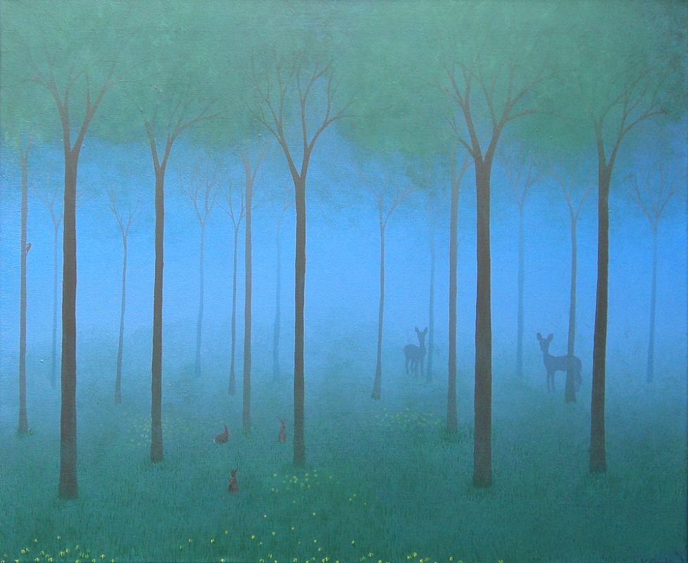A painted landscape of a woodland, with rabbits in the foreground and the misty shapes of deer seen in the distance