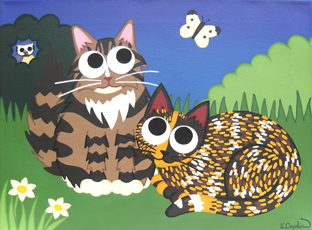 A cartoon painting of a longhaired tabby cat and a tortoiseshell cat sat in a garden watching a butterfly, with a blue tit sat in a bush in the background