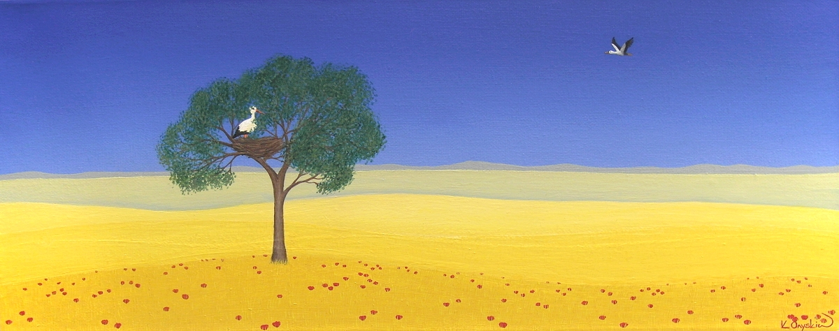 A painted landscape showing yellow fields under a clear blue sky, as in the Ukrainian flag. In the foreground red poppies can be seen growing in amongst the crops, and a tree in the field contains nesting storks