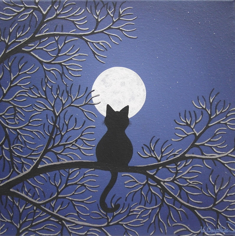 A painted night scene with the silhouette of a cat sat in snow covered tree branches, looking up at a full moon