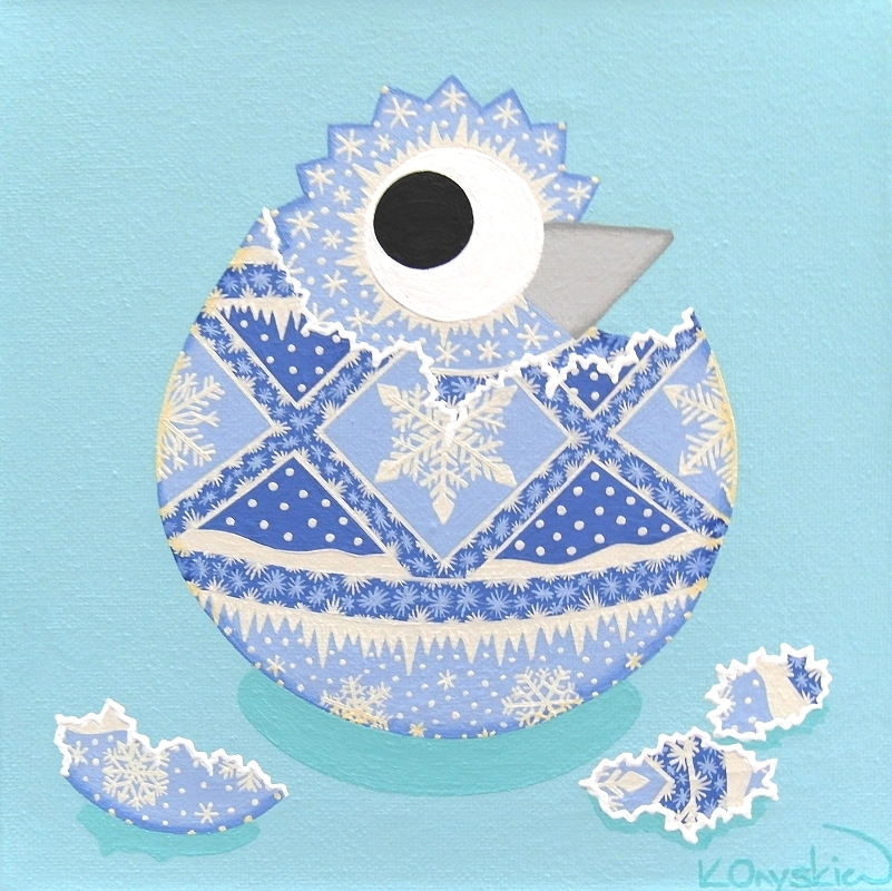A cartoon chick is shown hatching out of an egg, both the chick and the egg are decorated with blue and white icy patterns