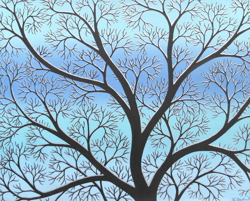 Black stylised tree branches with a silver snow line, against a background of blurred lines of blue and turquoise